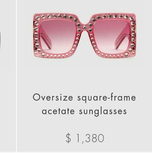 Oversized Pink Gucci square Frame Actate Sunglasse